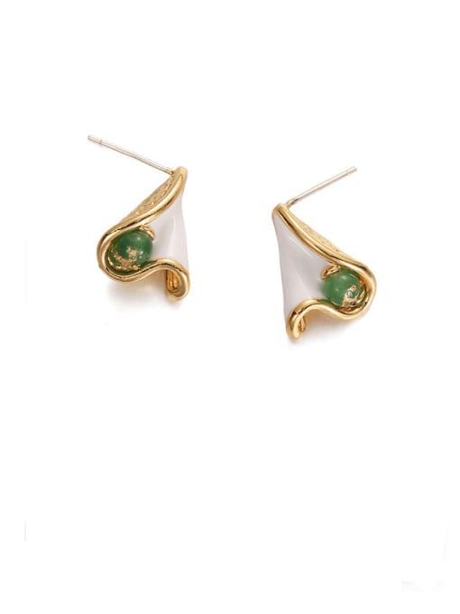 ACCA Brass Enamel Irregular Minimalist Stud Earring