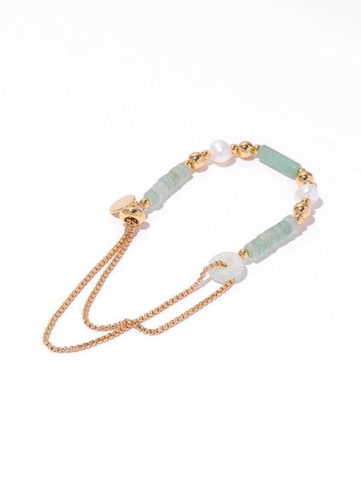 Bracelet (adjustable) Brass Jade Geometric Hip Hop Strand Bracelet