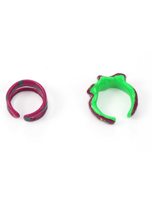 Five Color Zinc Alloy Enamel Irregular Minimalist Stackable Ring 3