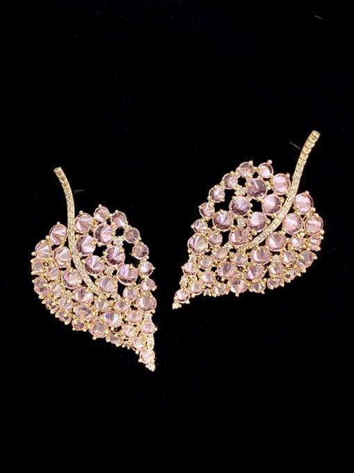 SUUTO Brass Cubic Zirconia Leaf Trend Stud Earring