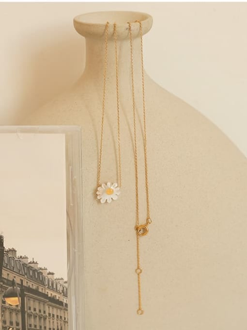 Five Color Brass Shell Flower Minimalist Necklace 1