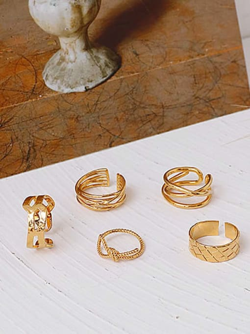 ACCA Brass Geometric Vintage Band Ring 2