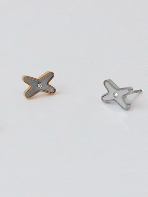 Five Color Brass Shell Letter Minimalist Stud Earring 2