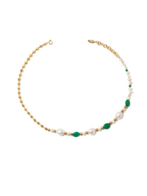 TINGS Brass Imitation Pearl Geometric Minimalist Necklace