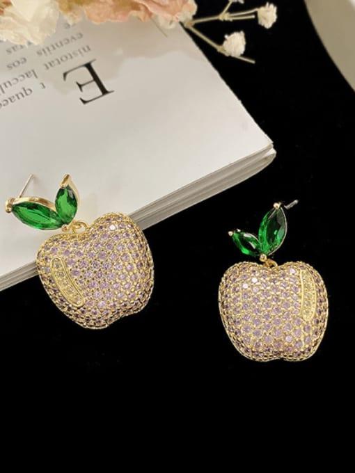 SUUTO Brass Cubic Zirconia Friut Vintage Stud Earring 1