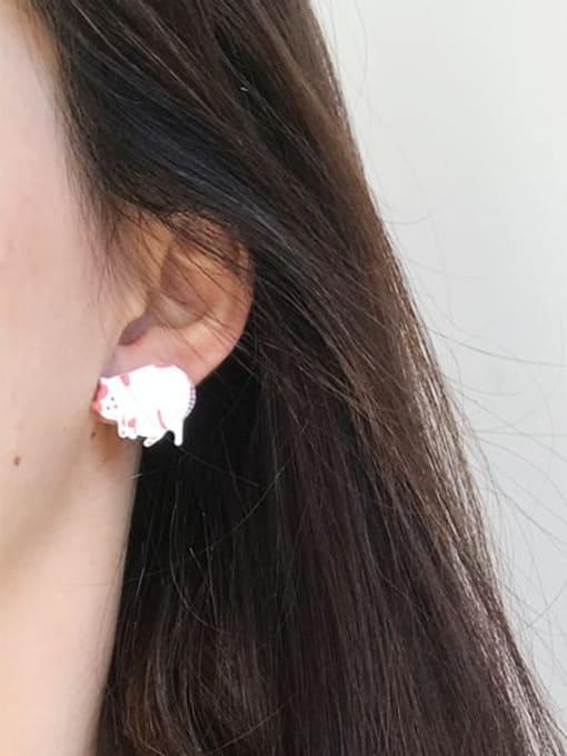 Five Color Alloy Enamel  Cute White Cat asymmetric Stud Earring 1