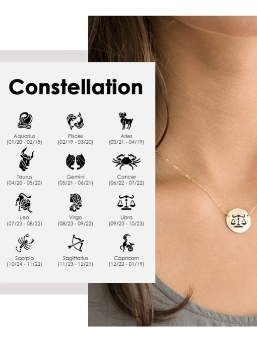 Desoto Titanium Steel Constellation Minimalist Round Pendant Necklace 0
