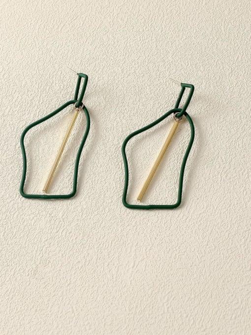 green Brass Enamel Geometric Minimalist Drop Earring