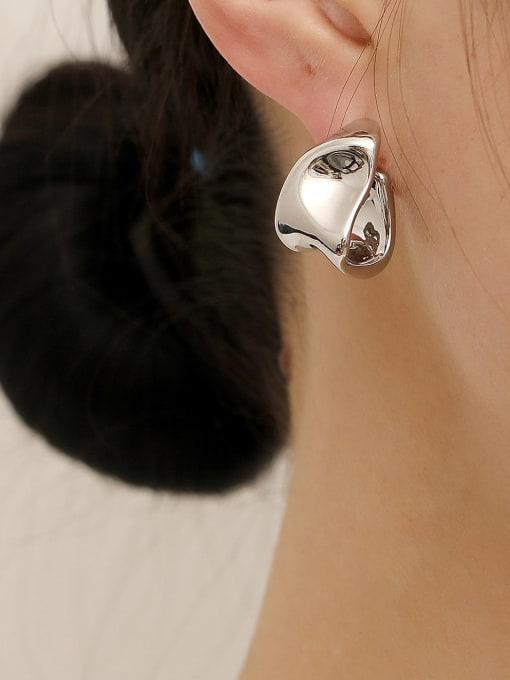 HYACINTH Brass Smooth Irregular Vintage Stud Earring 2