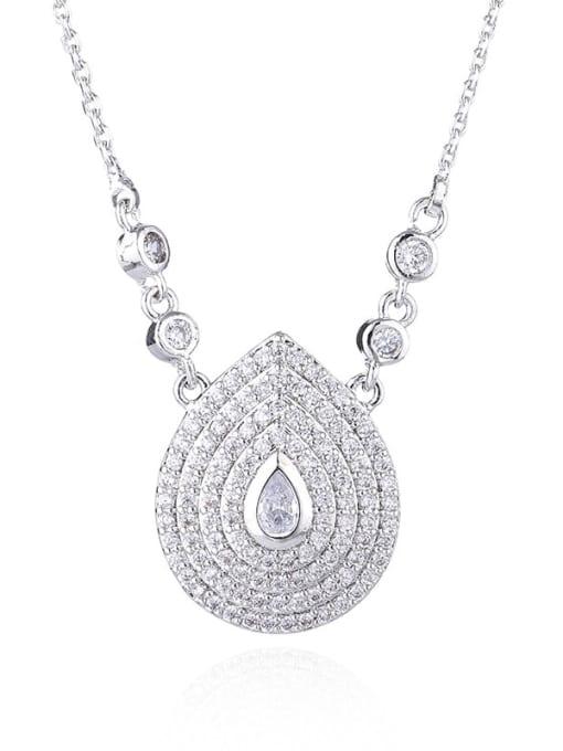 platinum Brass Cubic Zirconia Water Drop Vintage Necklace