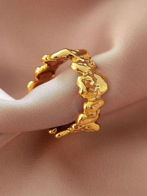 HYACINTH Brass Smooth Irregular Vintage Band Ring 0