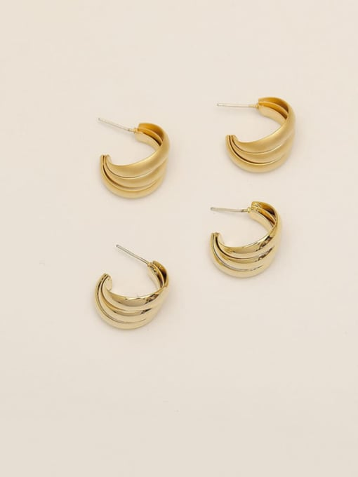 HYACINTH Brass Smooth Geometric Ethnic Stud Earring 1