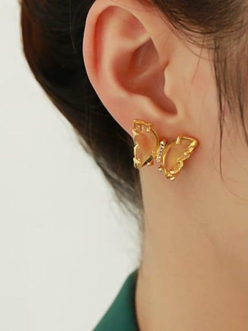 ACCA Brass Cubic Zirconia Butterfly Minimalist Stud Earring 2