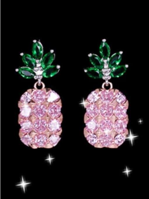 Pink Brass Cubic Zirconia Friut Luxury Drop Earring