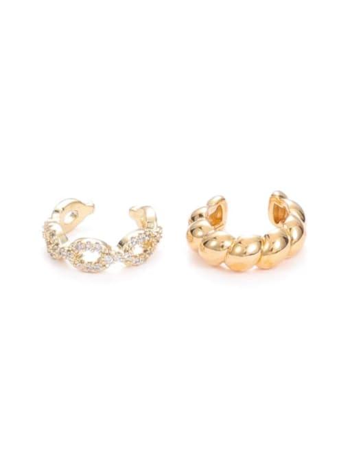 Five Color Brass Cubic Zirconia Geometric Minimalist Single Earring 0