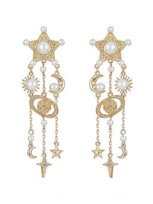 SUUTO Brass Cubic Zirconia Tassel Ethnic Drop Earring 2