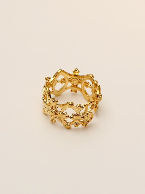 HYACINTH Brass Hollow  Flower Minimalist Band Ring 3