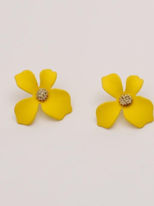 yellow Brass Enamel Flower Cute Stud Earring