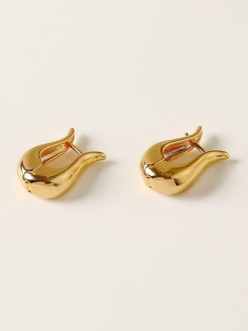 HYACINTH Brass Smooth Geometric Minimalist Huggie Trend Korean Fashion Earring 0