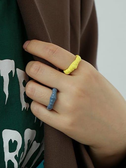 ACCA Alloy Enamel Irregular Minimalist Band Ring 1