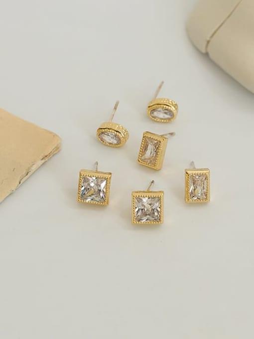 Five Color Brass Cubic Zirconia Geometric Hip Hop Stud Earring