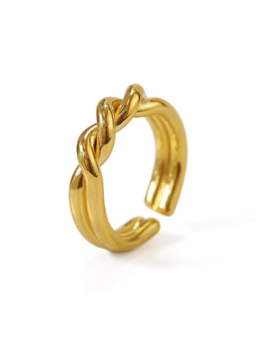 ACCA Brass Irregular Vintage Twist Midi Ring 0