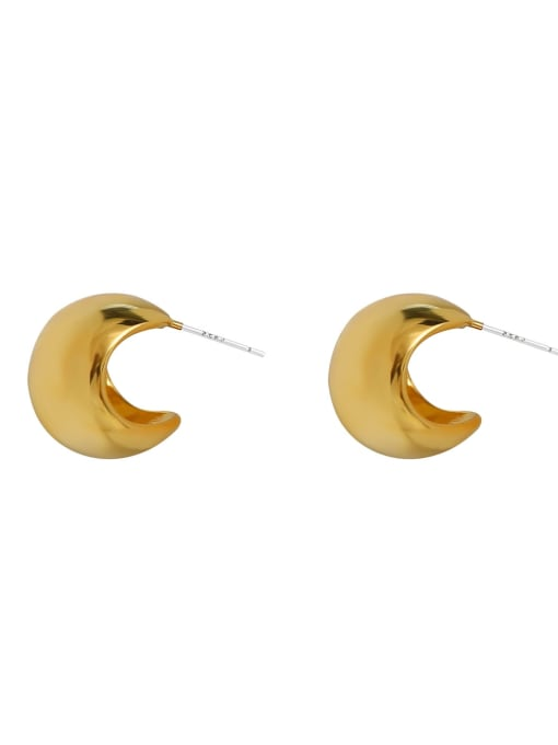 HYACINTH Brass  Minimalist  Smooth Geometric  Stud Earring 2