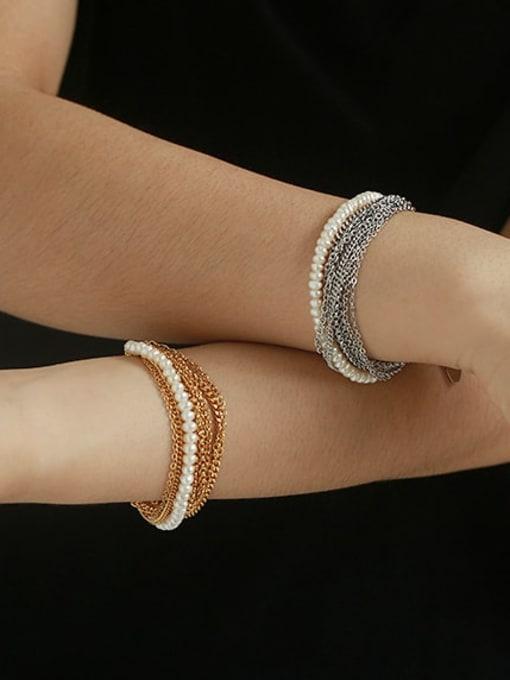 ACCA Brass Imitation Pearl Geometric Vintage Strand Bracelet 1