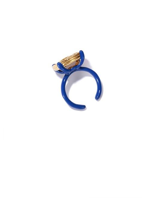 ACCA Brass Enamel Geometric Vintage Band Ring 3