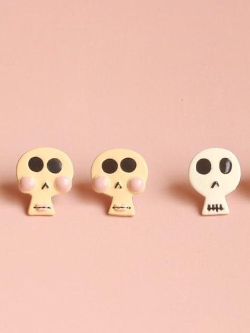 Five Color Alloy Enamel Skull Cute Stud Earring