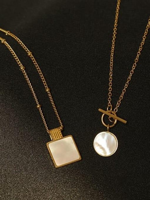 ACCA Brass Shell Geometric Vintage pendant Necklace 2