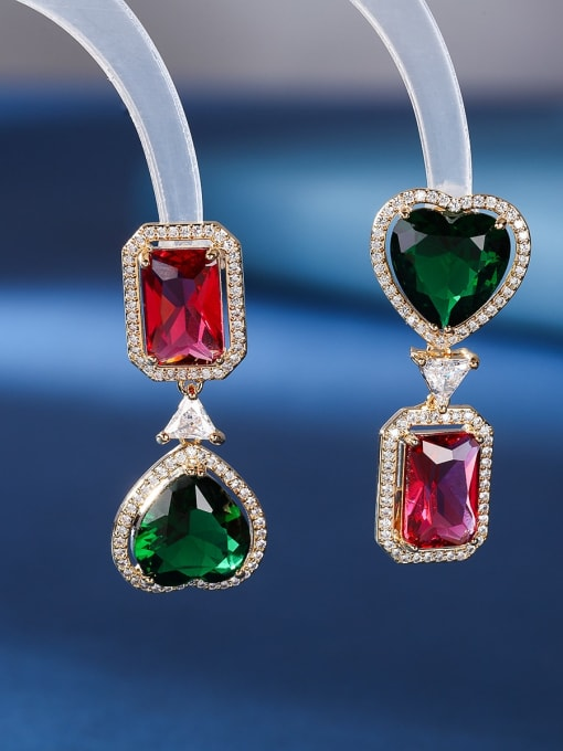 Red square green love Brass Cubic Zirconia Heart Luxury Drop Earring