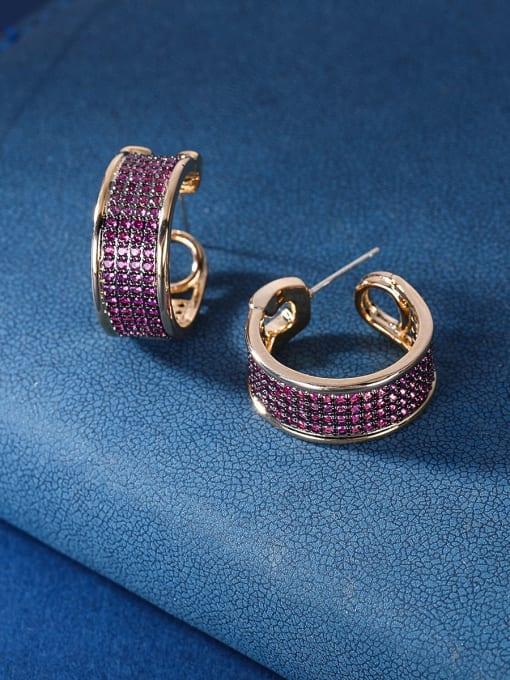 OUOU Brass Cubic Zirconia Geometric Luxury Stud Earring 3