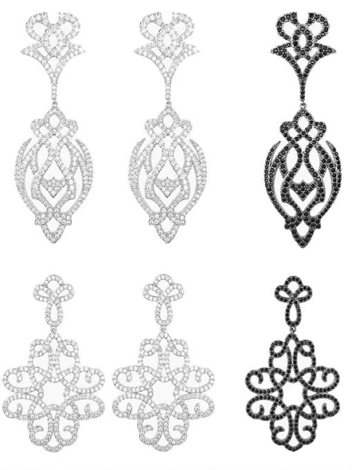 OUOU Brass Cubic Zirconia Flower Hip Hop Drop Earring