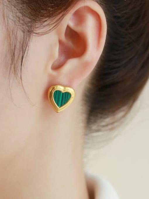Five Color Brass Enamel Heart Minimalist Stud Earring 1