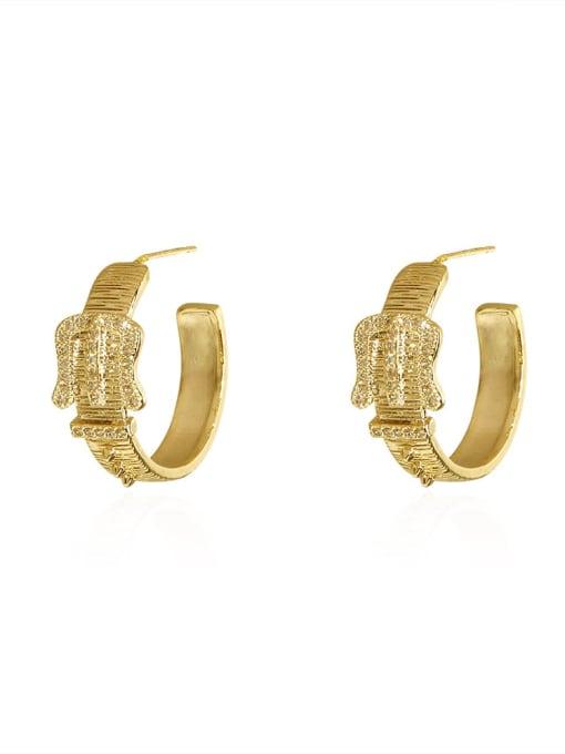 HYACINTH Brass Cubic Zirconia Geometric Vintage Hoop Earring 0