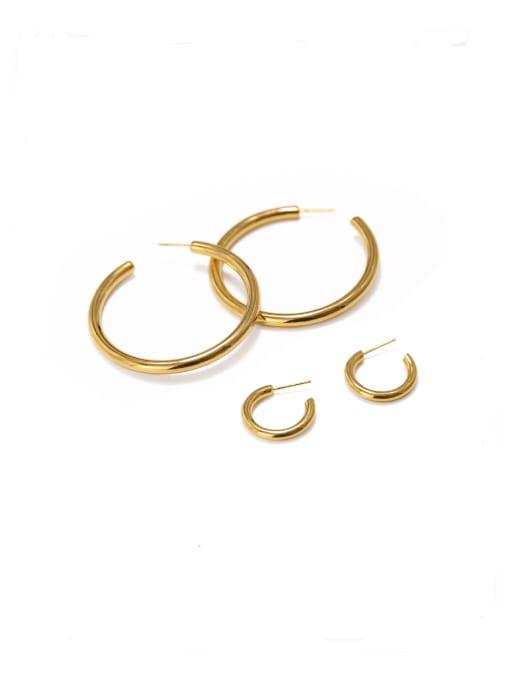 ACCA Brass Smooth Geometric Minimalist Hoop Earring 0