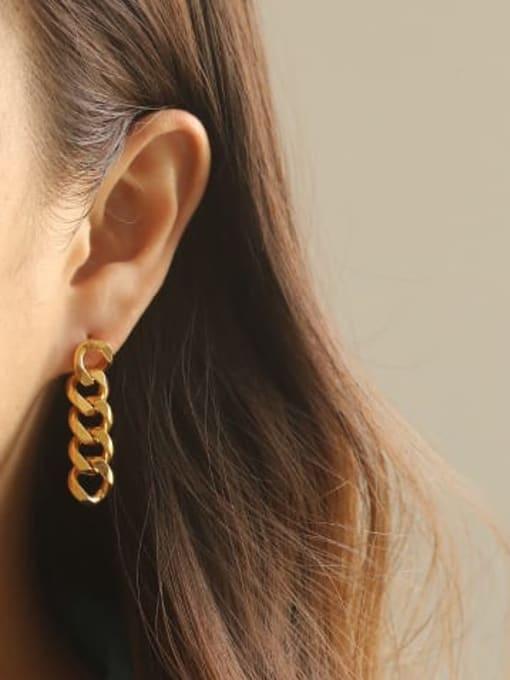 ACCA Brass Hollow Geometric Chain Asymmetry Minimalist Drop Earring 1