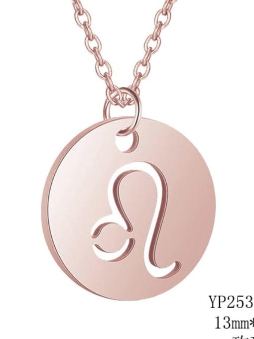 Leo rose gold Titanium Steel Constellation Minimalist  Round Pendant Necklace
