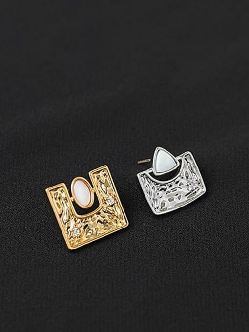 ACCA Brass Shell Geometric Hip Hop Stud Earring