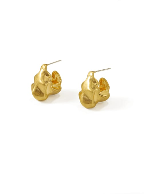 ACCA Brass Smooth Irregular Vintage Stud Earring 0