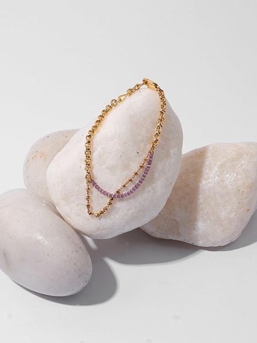 TINGS Brass Cubic Zirconia Geometric Minimalist Strand Bracelet 1