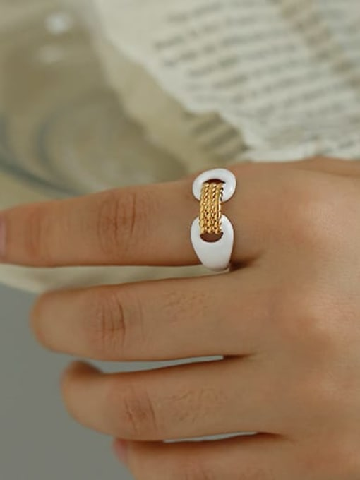 ACCA Zinc Alloy Enamel Geometric Minimalist Band Ring 1