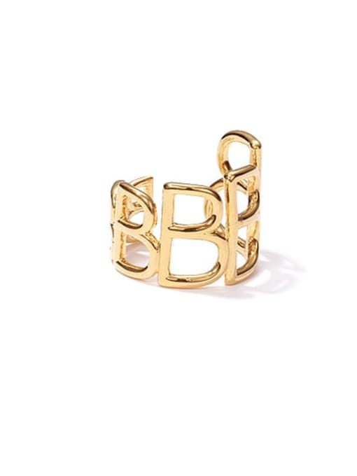 golden Brass Hollow Geometric Vintage Band Ring