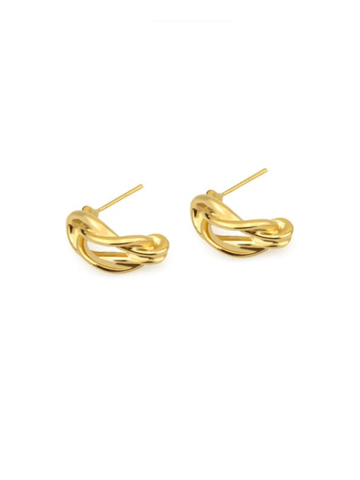 ACCA Brass Hollow  Irregular Vintage Stud Earring 3