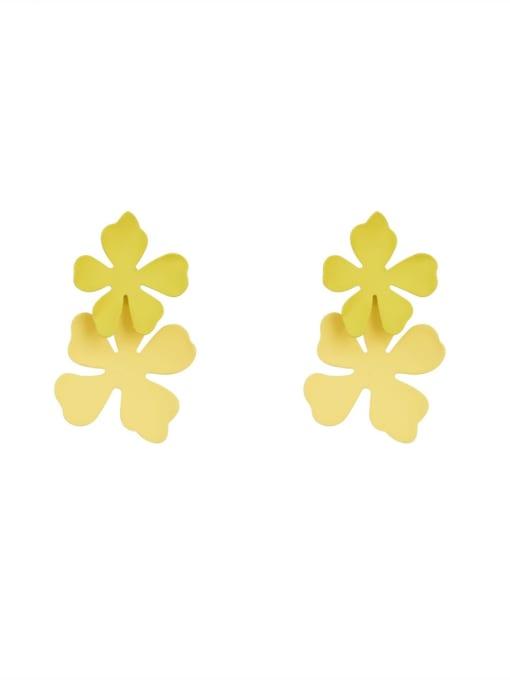 HYACINTH Brass smooth Flower Minimalist Drop Earring 0