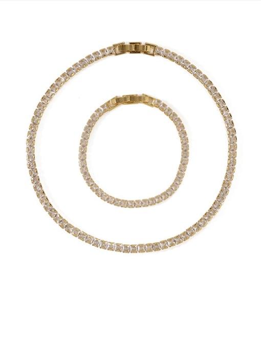 ACCA Brass Cubic Zirconia Geometric Dainty Bracelet