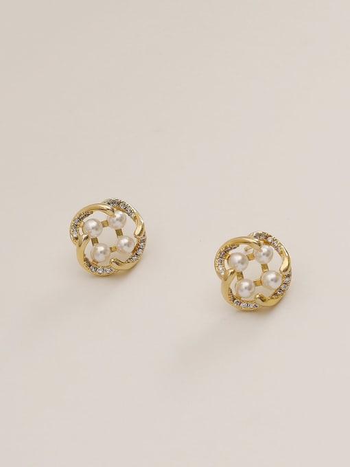 HYACINTH Brass Imitation Pearl Geometric Vintage Stud Earring 4