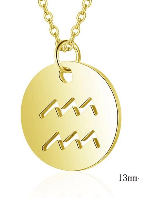 Aquarius gold Titanium Steel Constellation Minimalist  Round Pendant Necklace