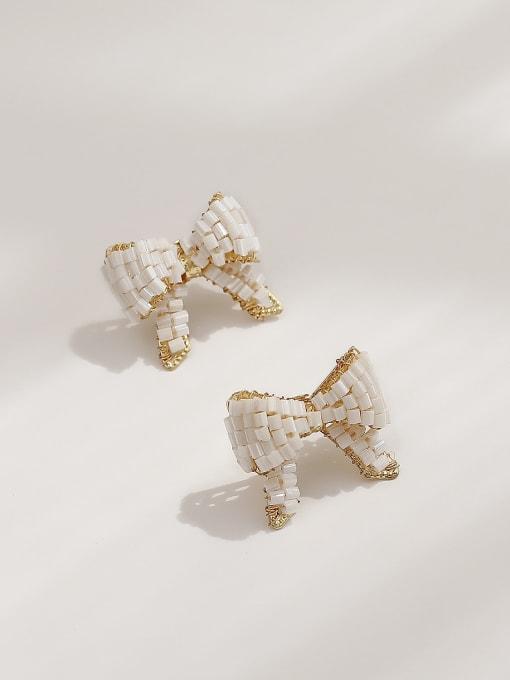 White Bow Earrings Brass Butterfly Vintage Stud Earring